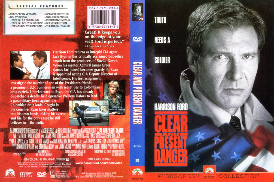 Clear And Present Danger 1993 R1 Ws Dvd Cover Dvdcover Com