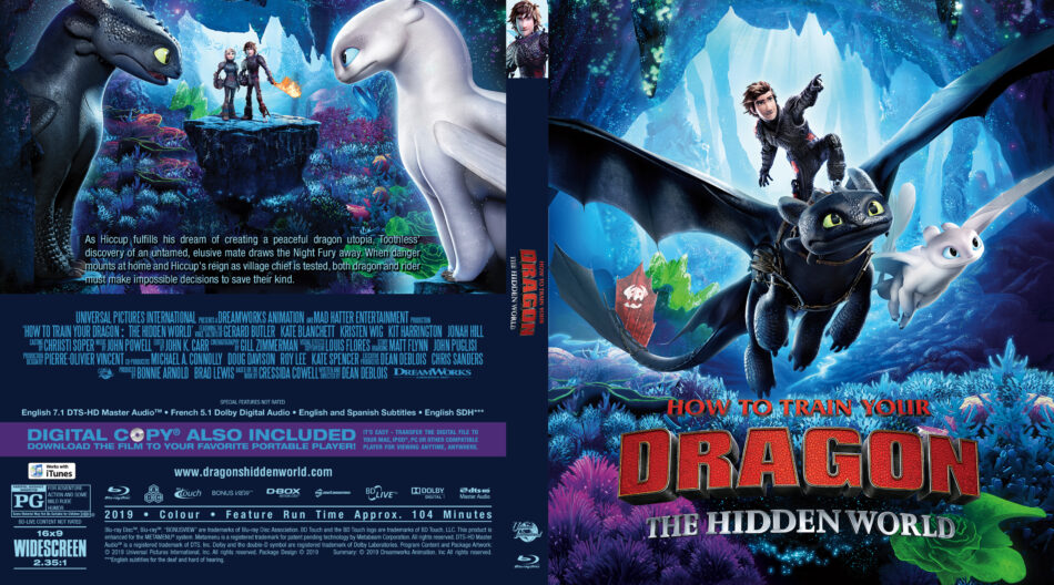 How To Train Your Dragon The Hidden World 2019 R1 Custom Blu Ray Cover Label Dvdcover Com