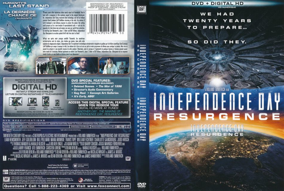 Independence Day Resurgence 2016 Fre Can R1 Dvd Cover Label Dvdcover Com