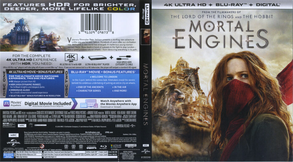 Mortal Engines (2018) R1 4K UHD Cover & Labels - DVDcover Com