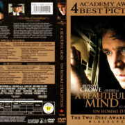 A BEAUTIFUL MIND ENGLISH/FRENCH (2002) R1 DVD COVER & LABELS
