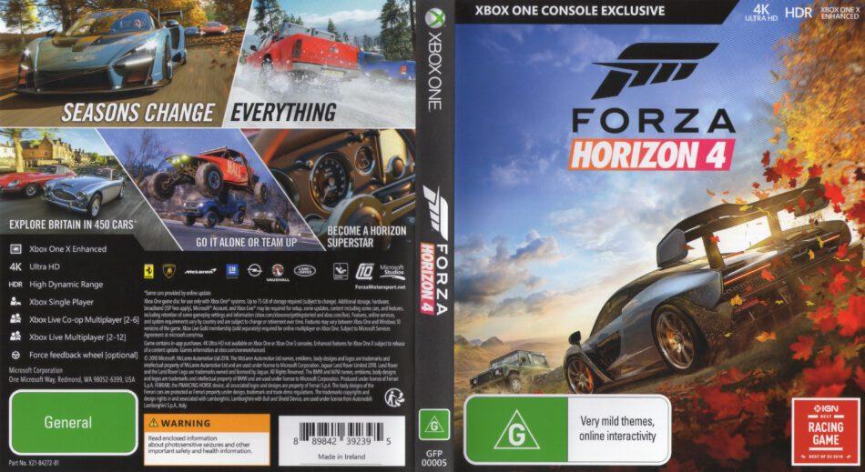 Forza Horizon 4 2018 Pal Xbox One Cover Dvdcover Com