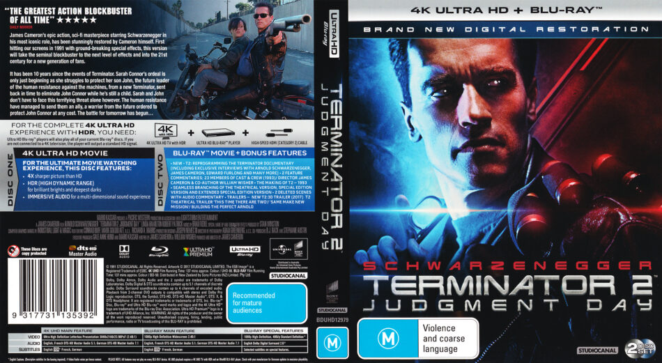 Terminator 2 Judgement Day 1991 R4 4k Uhd Cover Labels Dvdcover Com