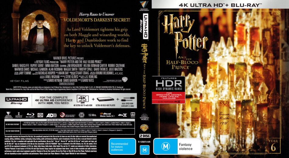 Harry Potter And The Half Blood Prince 2009 R4 4k Uhd Cover Labels Dvdcover Com