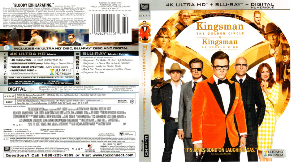 Kingsman The Golden Circle 2017 R1 Uhd 4k Cover Labels Dvdcover Com