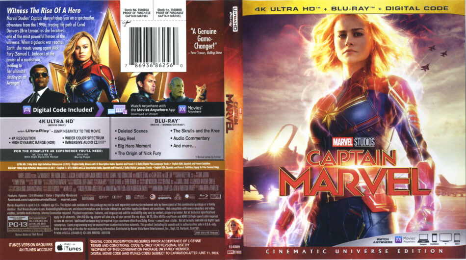 Captain Marvel 2019 4k Uhd Blu Ray Cover Labels Dvdcover Com
