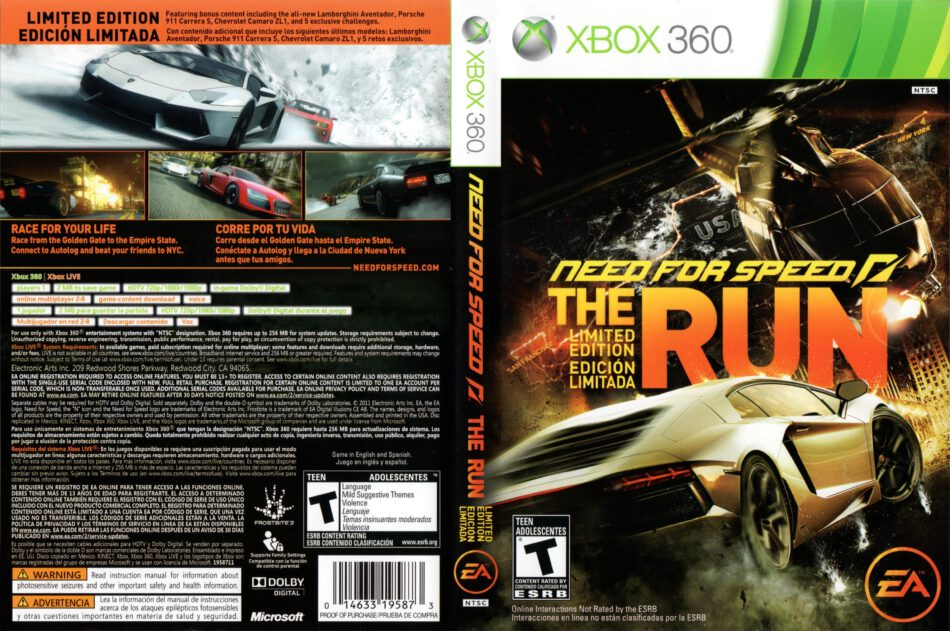 Need For Speed The Run Xbox 360 Cover Label Dvdcover Com
