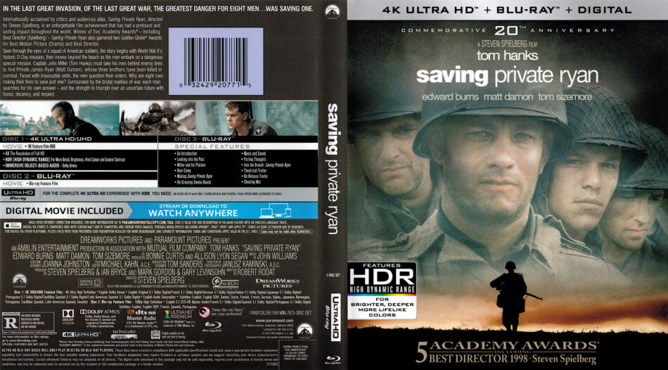 Saving Private Ryan 1998 R1 4k Uhd Cover Dvdcover Com
