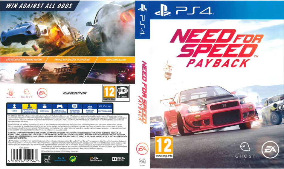 need for speed payback pal ps4 cover dvdcover com. Black Bedroom Furniture Sets. Home Design Ideas