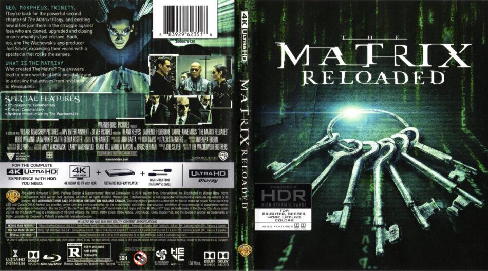 Matrix Reloaded 2003 R1 4k Uhd Cover Dvdcover Com