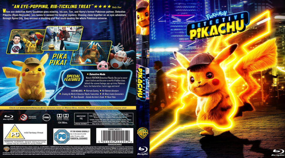 Pokemon Detective Pikachu 2019 R0 Custom Blu Ray Cover Label Dvdcover Com