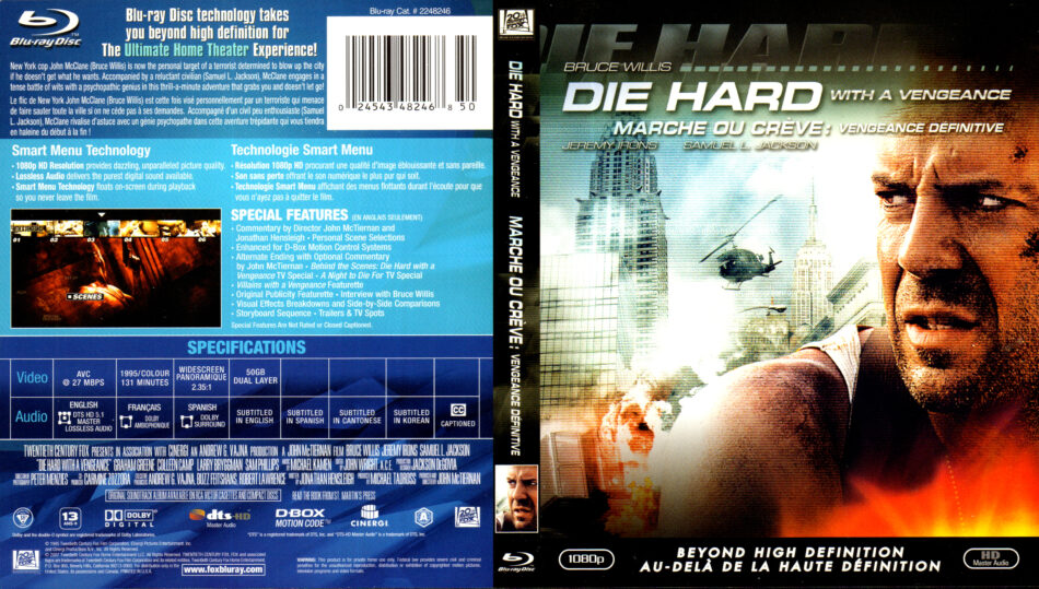 Die Hard With A Vengeance 1995 R1 Blu Ray Cover Label Dvdcover Com