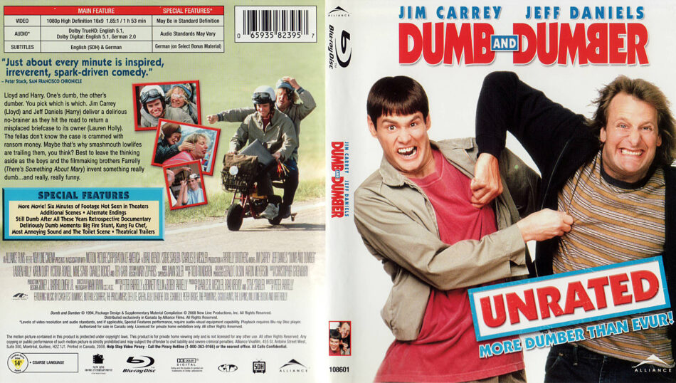 Dumb And Dumber 1994 Unrated R1 Blu Ray Cover Label Dvdcover Com