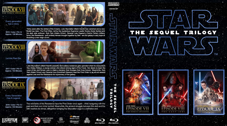 Star Wars The Sequel Trilogy R1 Custom Blu Ray Cover Dvdcover Com