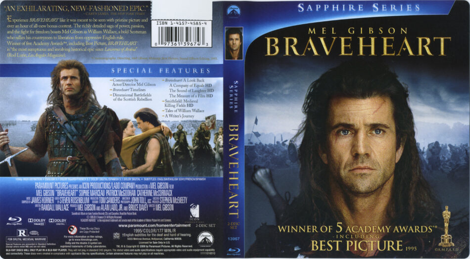 Braveheart 1995 R1 Blu Ray Cover Label Dvdcover Com