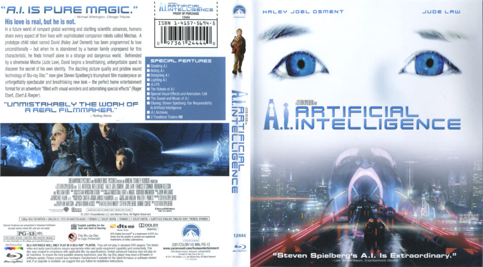A I Artificial Intelligence 2001 R1 Blu Ray Cover Label Dvdcover Com
