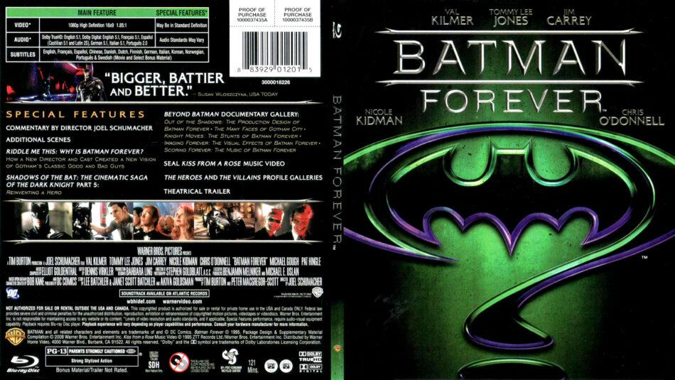 Batman Forever 1995 R1 Slim Blu Ray Cover Label Dvdcover Com