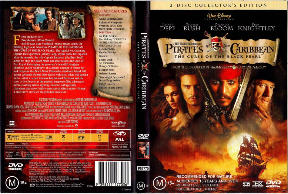 Pirates Of The Caribbean The Curse Of The Black Pearl 2003 R4 Dvd Cover Dvdcover Com