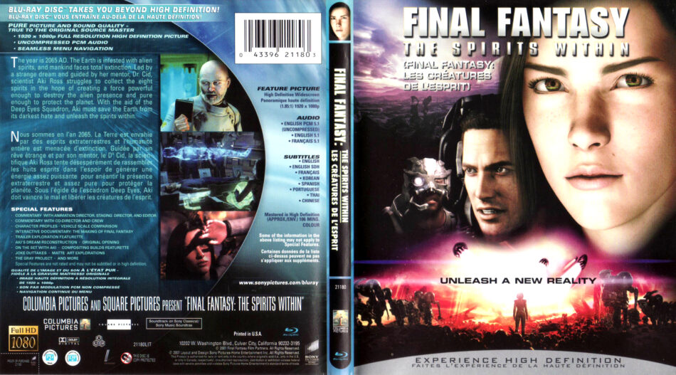 Final Fantasy The Spirits Within 2001 R1 Blu Ray Cover Label