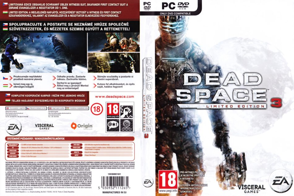 Dead Space 3 Limited Edition 2013 Cz Pc Dvd Cover Labels