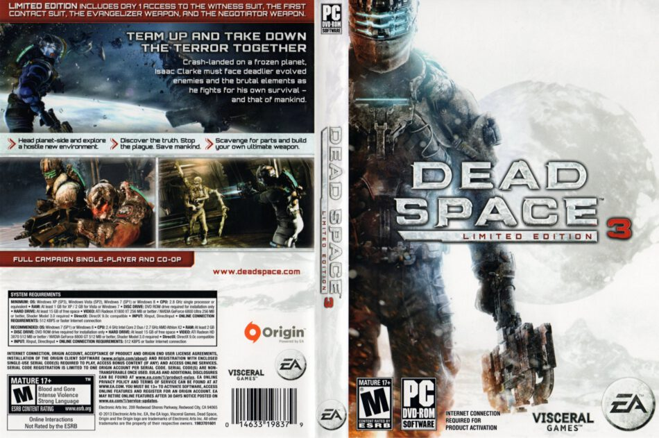 Dead Space 3 Limited Edition 2013 Us Pc Dvd Cover Labels