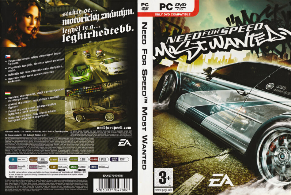 Need For Speed Most Wanted 2005 Cz Pc Dvd Cover Label