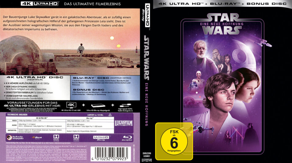 Star Wars Episode Iv Eine Neue Hoffnung Custom 4k Uhd Blu Ray German Covers Label Dvdcover Com