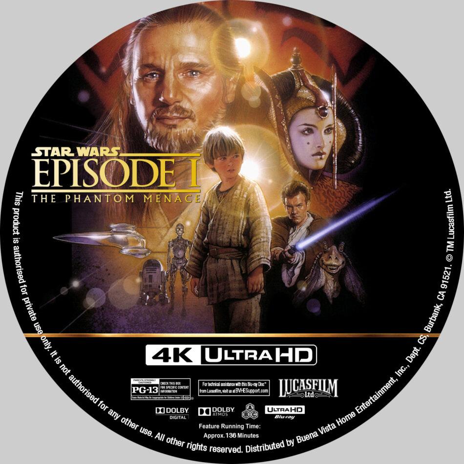Star Wars Episode I The Phantom Menace 1999 R1 Custom 4k Blu Ray Label Dvdcover Com