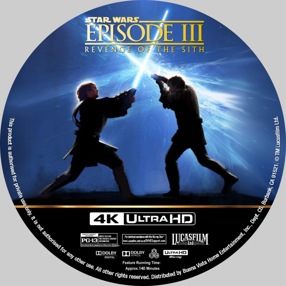 Star Wars Episode Iii Revenge Of The Sith 2005 R1 Custom 4k Blu Ray Label Dvdcover Com