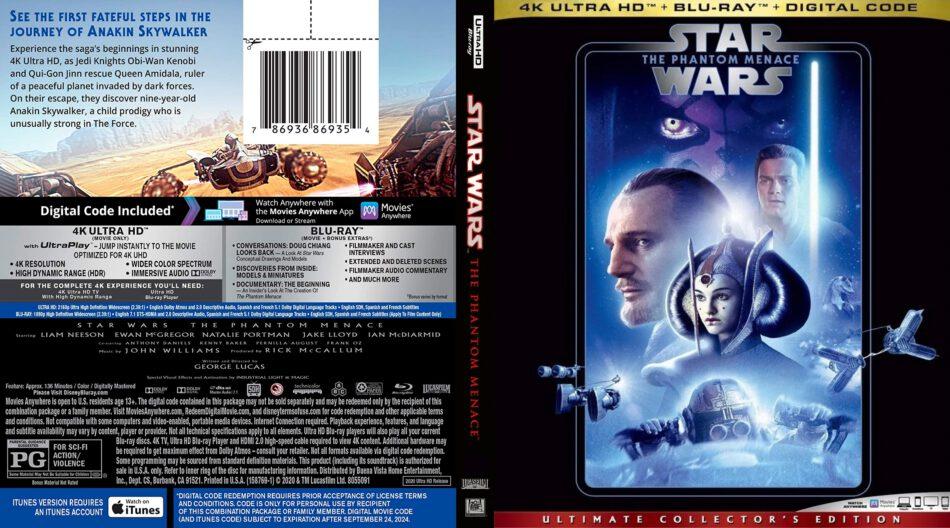 Star Wars Episode I The Phantom Menace 1999 R1 Custom 4k Uhd Dvdcover Com