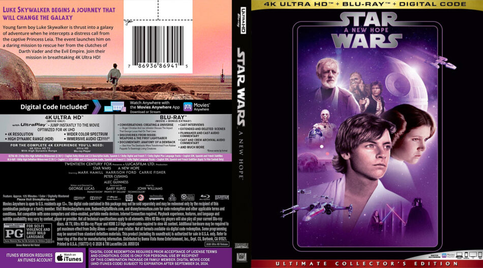 Star Wars Episode Iv A New Hope 1977 R1 Custom 4k Uhd Dvdcover Com
