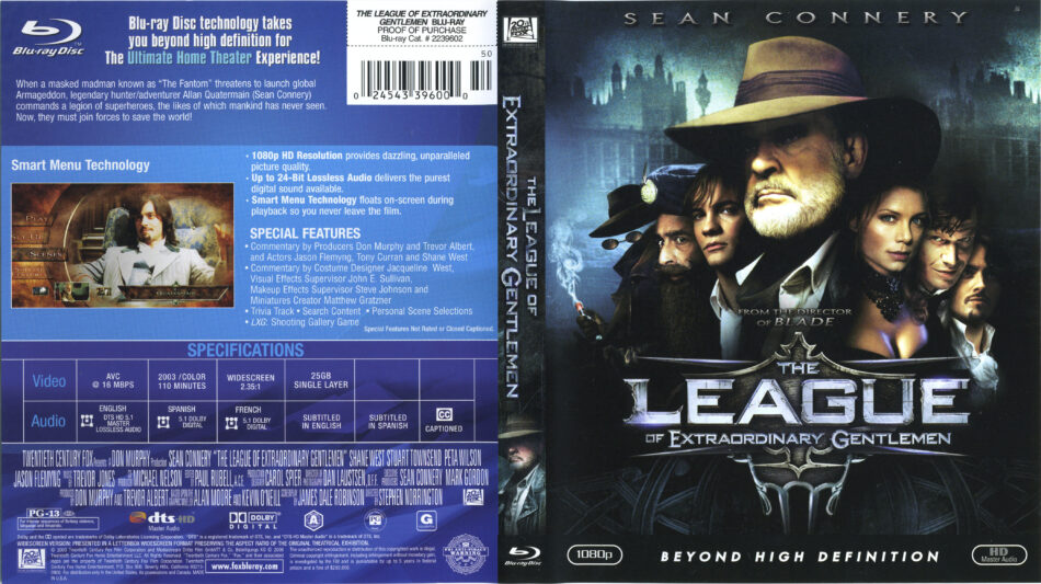 The League Of Extraordinary Gentlemen 2003 Blu Ray Cover Label Dvdcover Com