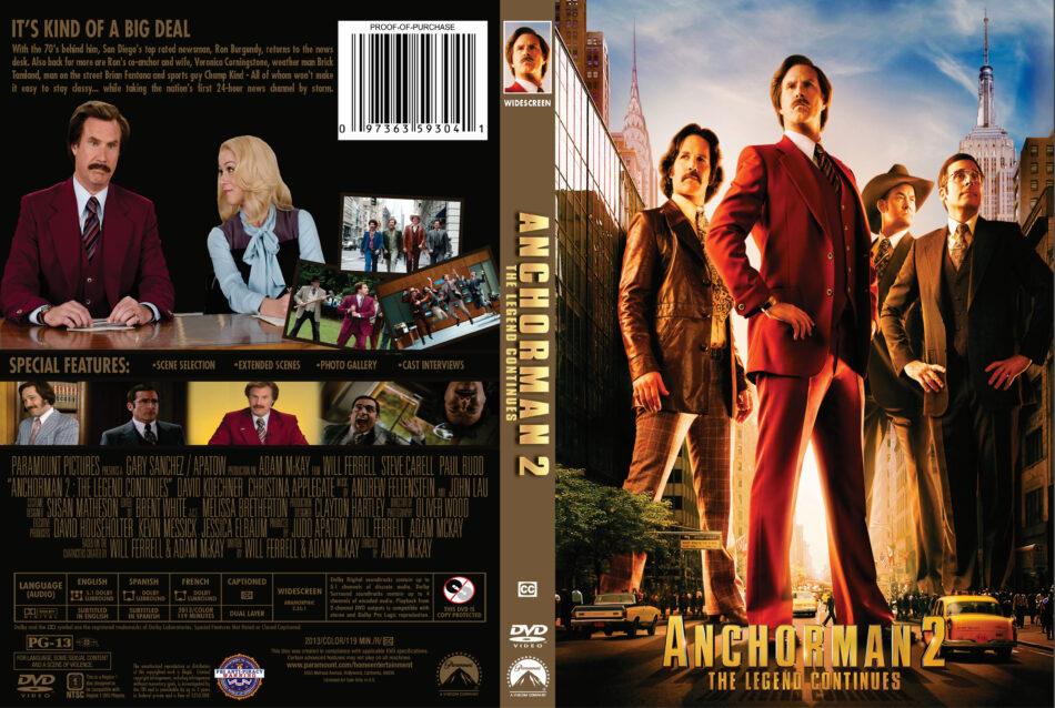 Anchorman 2 The Legend Continues Dvd Cover 2013 R1 Custom Art