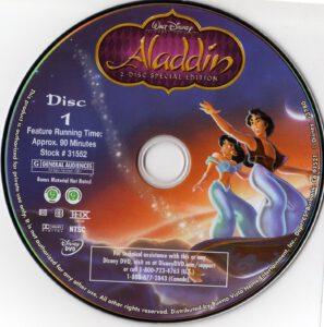 aladdin 1992 r1 cartoon dvd cd label dvd cover