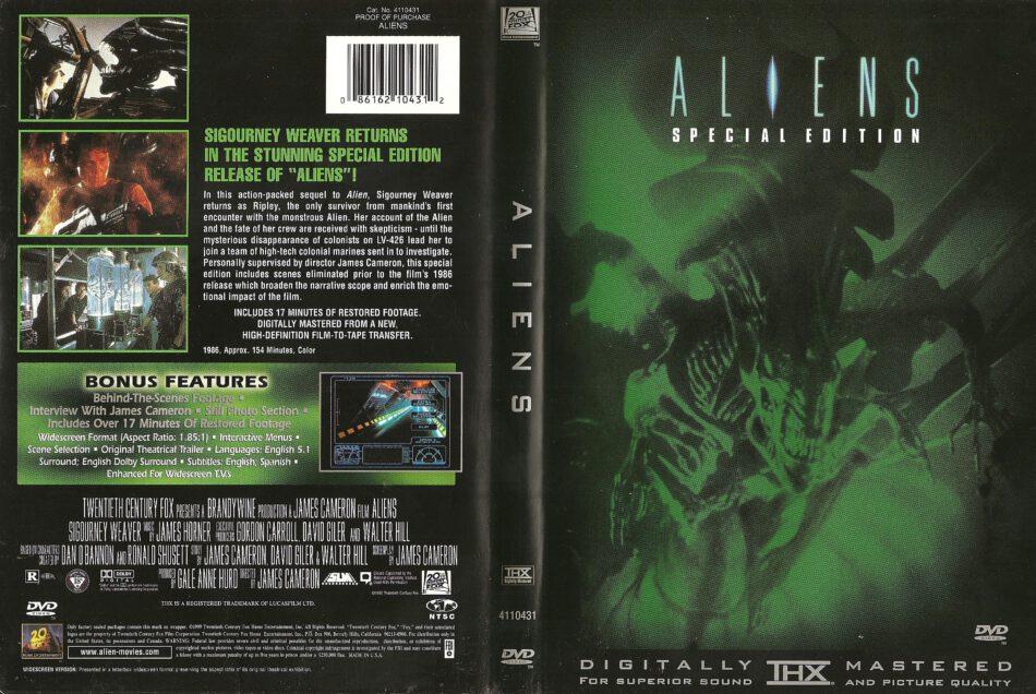 Aliens (1986) WS SE R1 - Movie DVD - CD Label, DVD Cover