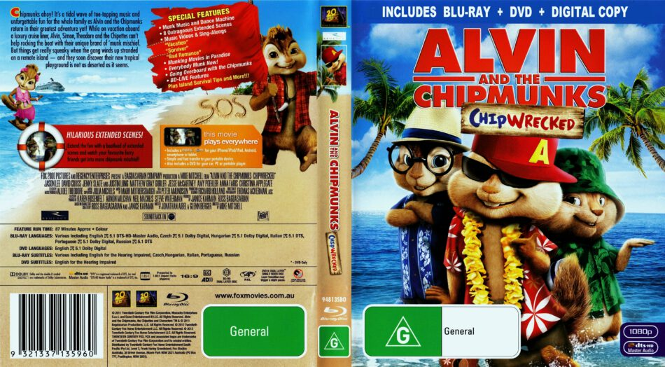 Alvin And The Chipmunks Chipwrecked 2011 Ws R4 Blu Ray Dvd Cd Label Dvd Cover Front Cover