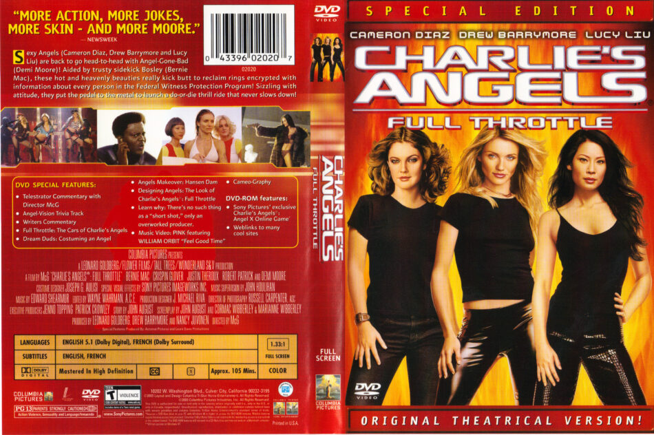 Charlie S Angels Full Throttle 2003 Ws Se R1 Movie Dvd Cd Label Dvd Cover Front Cover