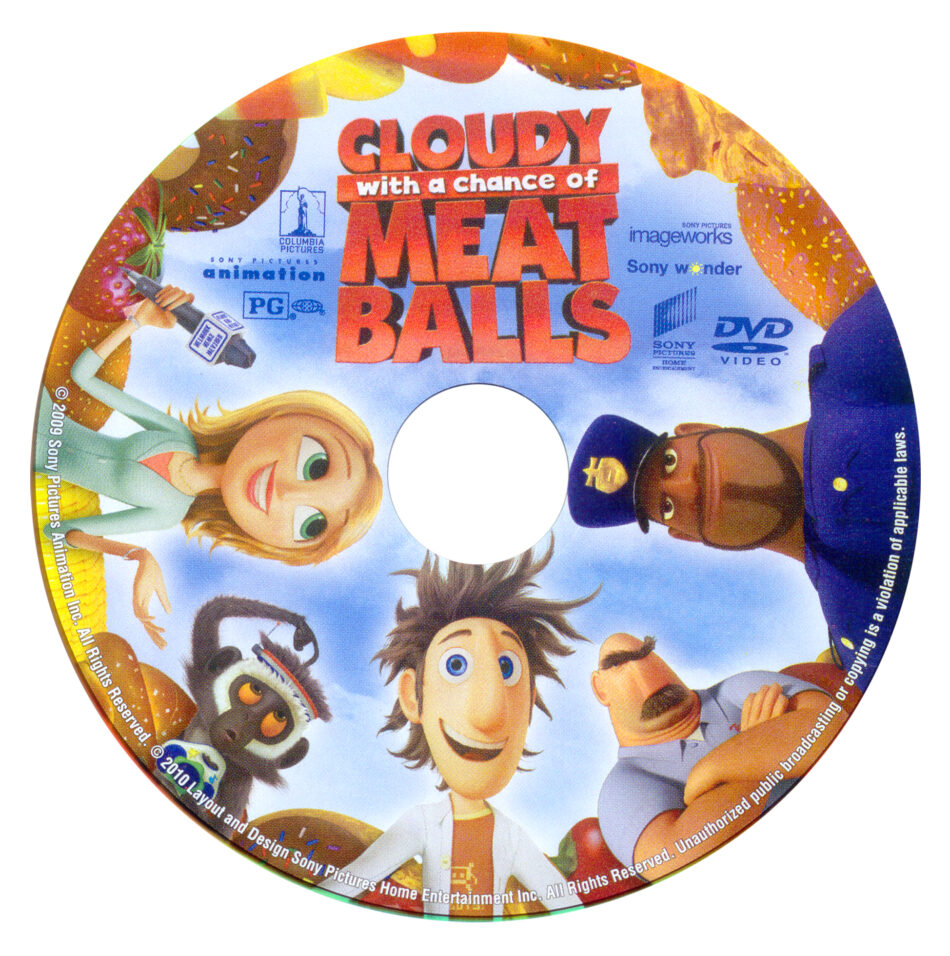 Cloudy With A Chance Of Meatballs 2009 Ws R1 Cartoon Dvd Cd Label Dvd Cover Front Cover