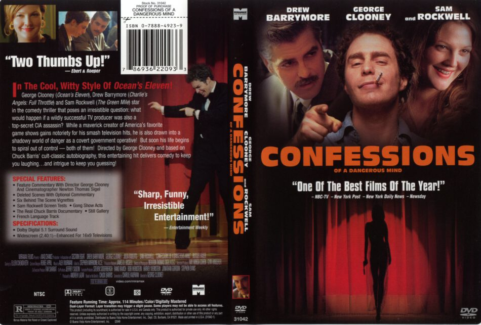 Confessions Of A Dangerous Mind (2002) WS R1 - Movie DVD - CD Label, DVD  Cover, Front Cover