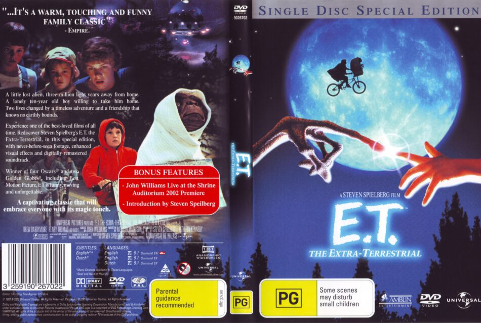 E T The Extra Terrestrial 1982 Ws Se R4 Movie Dvd Cd Label Dvd Cover Front Cover