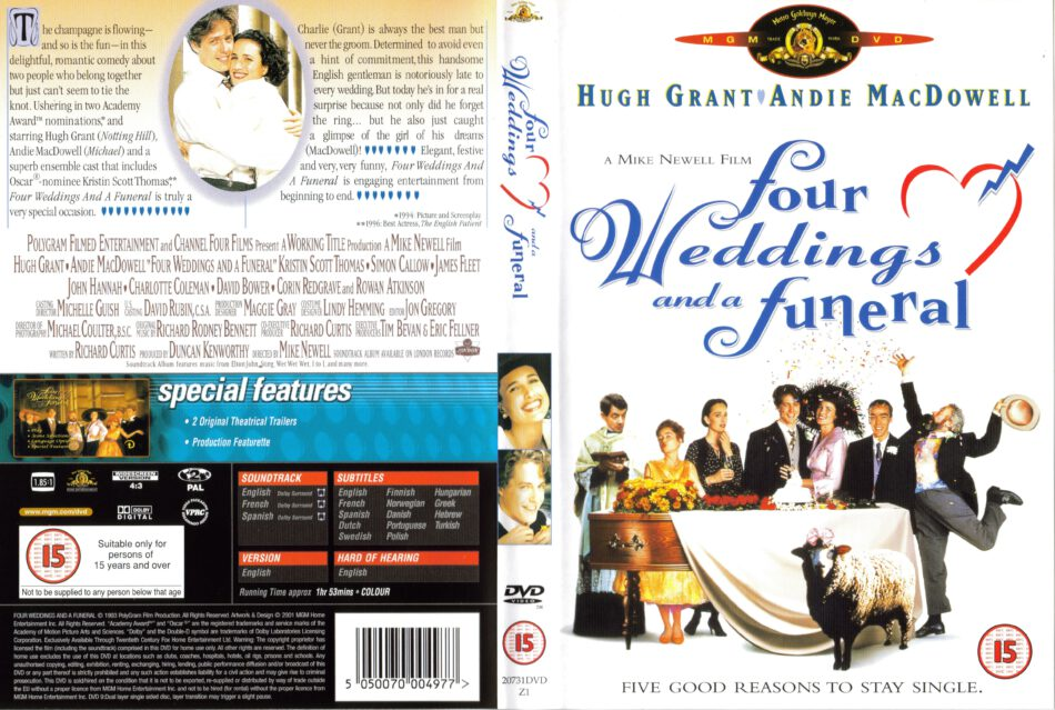 Four Weddings And A Funeral 1994 R2 Movie Dvd Cd Label Dvd Cover Front Cover