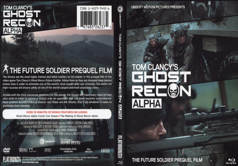 Ghost Recon Alpha 2012 R1 Blu Ray Dvd Cd Label Dvd Cover