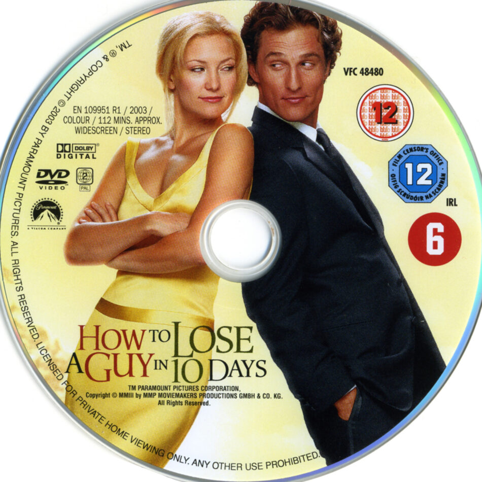 How To Lose A Guy In 10 Days 2003 Ws R2 Movie Dvd Cd Label Dvd Cover Front Cover