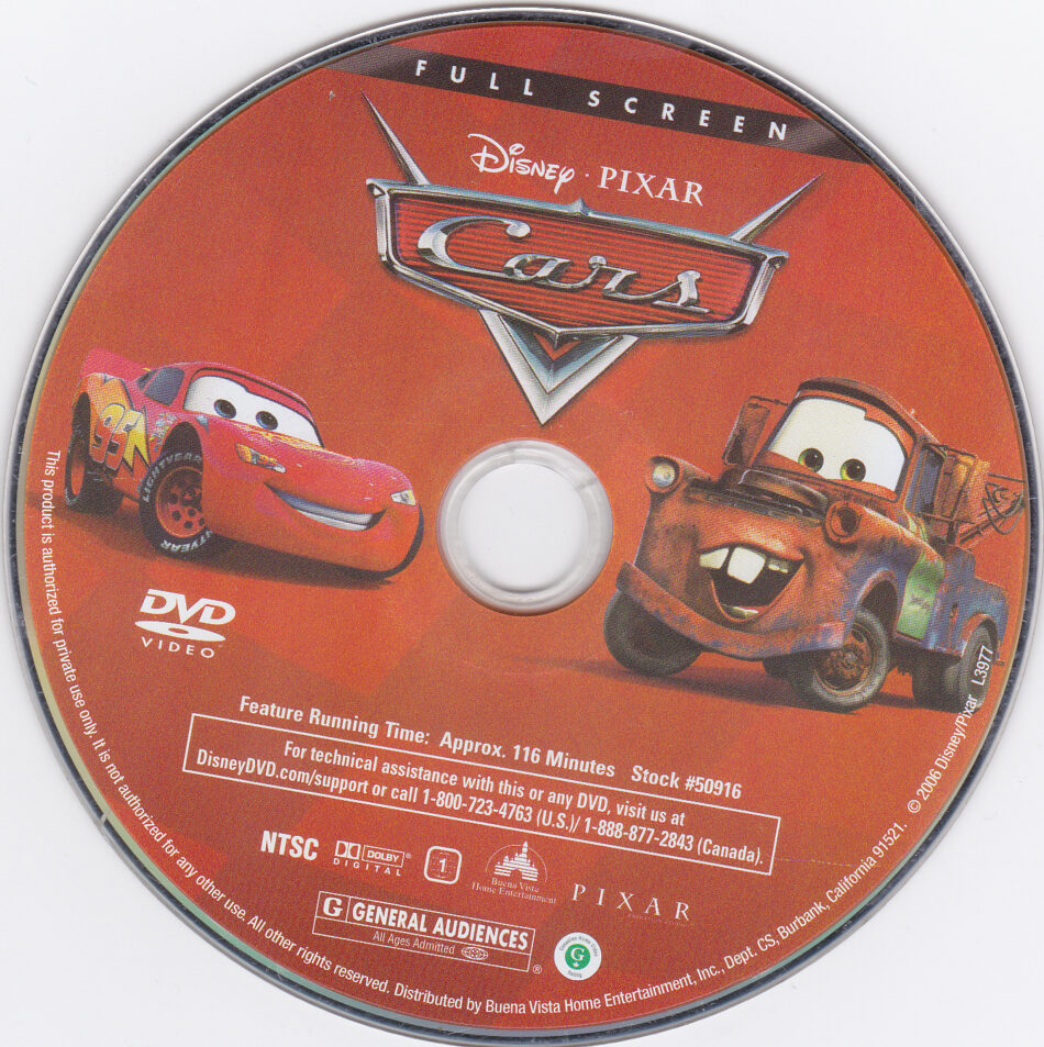 Cars 2006 Fs R1 Cartoon Dvd Cd Label Dvd Cover Front Cover Art