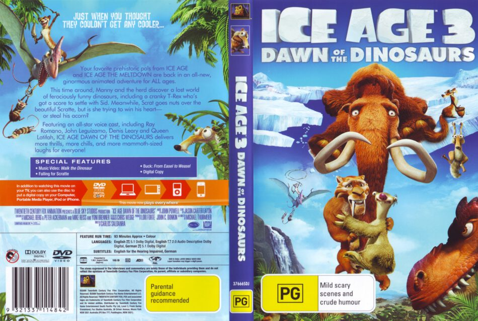 Ice Age 3 Dawn Of The Dinosaurs 2009 Ws R4 Cartoon Dvd Cd Label Dvd Cover Front Cover