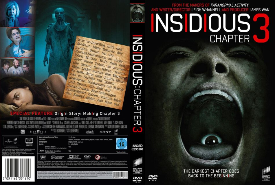Insidious Chapter 3 dvd cover (2015) R2 GERMAN