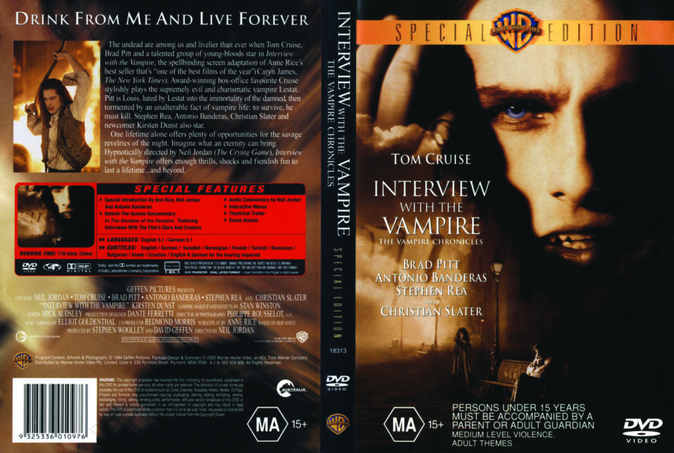 Interview With The Vampire The Vampire Chronicles 1994 Se Ws R4 Movie Dvd Cd Label Dvd Cover Front Cover