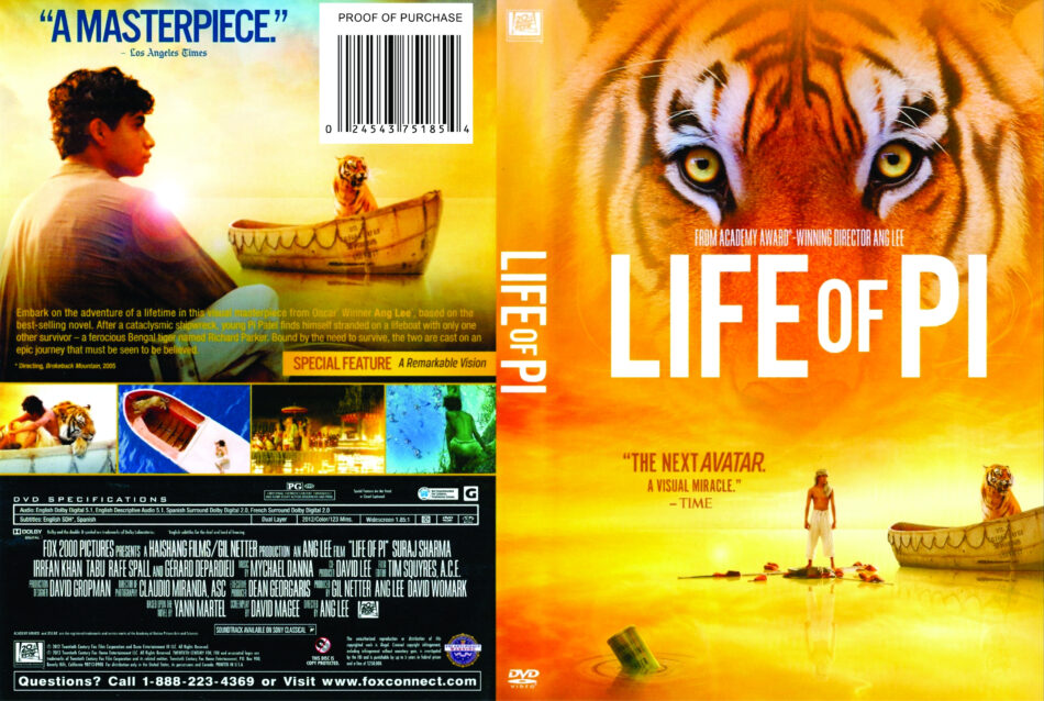 Life Of Pi 2012 R1 Movie Dvd Front Dvd Cover