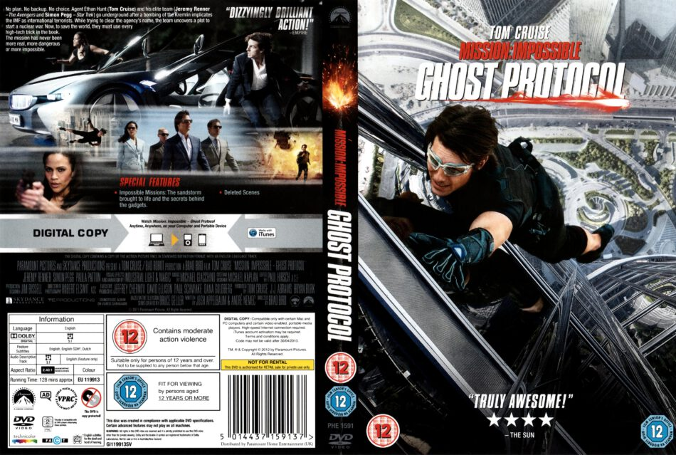 Mission Impossible Ghost Protocol 2011 R2 Movie Dvd Cd Label Dvd Cover Front Cover