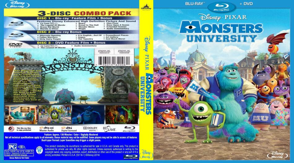 Monster University (2013) R1 Custom Blu-Ray DVD Cover